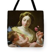 The Virgin And Child With A Rose Tote Bag
