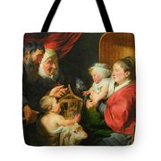 The Virgin And Child With St. John And His Parents Tote Bag