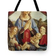 The Virgin And Child With Two Angels Tote Bag