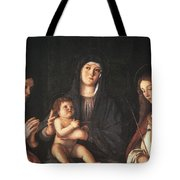 The Virgin And Child With Two Saints Prado Giovanni Bellini Tote Bag