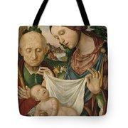 The Virgin And Saint Joseph  Adoring The Christ Child Tote Bag