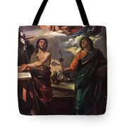 The Virgin Appearing To Saints John The Baptist And John The Evangelist 1520 Tote Bag