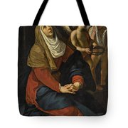 The Virgin In Prayer At The Foot Of The Cross, With Crying Angels Tote Bag