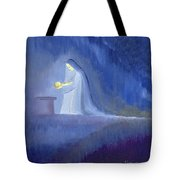 The Virgin Mary Cared For Her Child Jesus With Simplicity And Joy Tote Bag by Elizabeth Wang