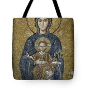 The Virgin Mary Holds The Child Christ On Her Lap Tote Bag