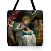 The Virgin Sewing Accompanied By Four Angels. La Couseuse Tote Bag