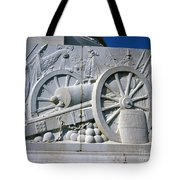 The Vittorio Emanuele Monument Marble Relief Of A Canon Standards Rome Italy Tote Bag