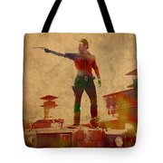 The Walking Dead Watercolor Portrait On Worn Distressed Canvas No 1 Tote Bag