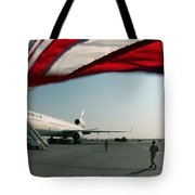 The Wind Blows The U.s. Flag Tote Bag