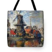 The Windmill Amsterdam Claude Monet 1874 Tote Bag