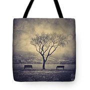 The Winter And The Benches Tote Bag