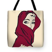 The Woman With The Crimson Veil Tote Bag