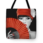 Woman With Paper Fan Tote Bag