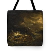 The Wreck Of The H.m.s. Deal Castle Off Puerto Rico During The Great Hurricane Of 1780 Tote Bag