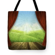 Theater Stage With Red Curtains And Nature Background  Tote Bag