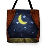 Theater Stage With Red Curtains And Night Background  Tote Bag