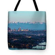 The_olympics_over_seattle Tote Bag