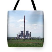 Thermal Power Plant On Green Wheat Field Industry Tote Bag