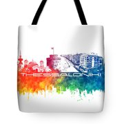 Thessaloniki Skyline City Color Tote Bag