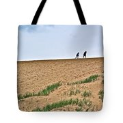 They Are Not At The Top Of This Dune Climb In Sleeping Bear Dunes National Lakeshore-michigan Tote Bag