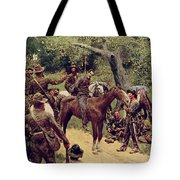 They Talked It Over With Me Sitting On The Horse Tote Bag by Howard Pyle