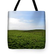 Thick Grass Field Abutting The Cliff's Of Moher In Ireland Tote Bag