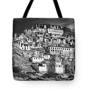 Thiksey Monastery - Paint Bw Tote Bag