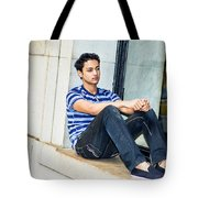 Young Boy Thinking Outside Tote Bag