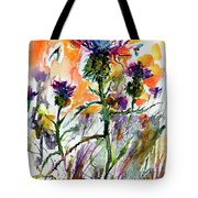 Thistles And Bees Watercolor And Ink Tote Bag