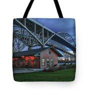 Thomas Edison Train Depot And Blue Water Bridges Tote Bag