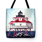 Thomas Point Shoal Lighthouse Annapolis Maryland Chesapeake Bay Light House Tote Bag