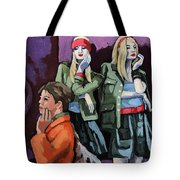 Thoughtful Shopping -city Woman Painting Tote Bag