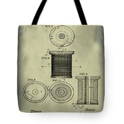 Thread Spool Patent 1877 Weathered Tote Bag