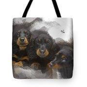 Three Adorable Black And Tan Dachshund Puppies Tote Bag
