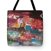 Three Arms10  Original Abstract Colorful Landscape Painting For Sale Red Blue Green Tote Bag
