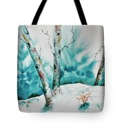Three Aspens On A Snowy Slope Tote Bag