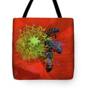 Three Bees At Lunch Tote Bag
