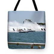 Three Boats Approaching The Start  Tote Bag