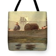 Three Boys In A Dory Tote Bag by Winslow Homer