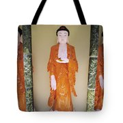 Three Buddha Statues Tote Bag