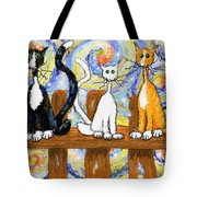 Three Cats On A Fence Tote Bag