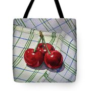 Three Sweet Cherries By Irina Sztukowski Tote Bag