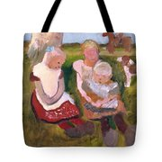 Three Children Sitting On A Hillside With Dog And Horse Tote Bag