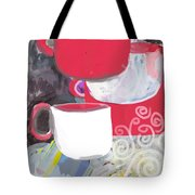 Three Coffee Cups Red And White Tote Bag