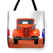 Three Colored Cars Tote Bag