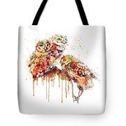 Three Cute Owls Watercolor Tote Bag