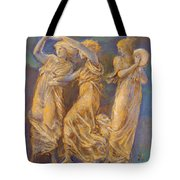 Three Female Figures Dancing And Playing Tote Bag