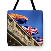 Three Flags At London Bridge Tote Bag