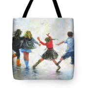 Three Girls And Boy Tote Bag