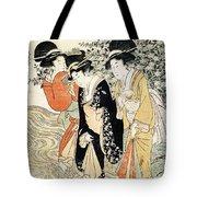 Three Girls Paddling In A River Tote Bag by Kitagawa Utamaro